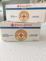 Lot Of 2 Vintage 1980 Johnson & Johnson Sterile Red Cross Cotton 4oz &  2oz