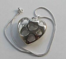Handmade Silvertone Large Hollow Heart Fashion Pendant Chain Necklace