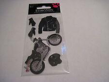 Scrapbooking Sandylion Dimensional Stickers Motorcycle Black Jacket Helmet