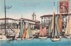 NICE 110 le port et l'église bateaux de plaisance voiliers timbrée 1920