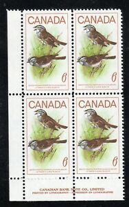 1969 Canada SC# 496 LL Birds White Throated Sparrow Plate Block M-NH Lot# 2203c
