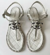 2020 $1025 CHANEL SUEDE GOATSKIN WHITE SILVER CC LOGO SANDALS FLATS SHOES 37