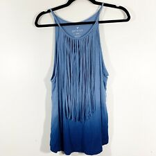American Eagle Soft & Sexy Size S Womens Blue Ombre Fringe Front Tank Top