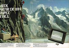 PUBLICITE ADVERTISING 015  1982  GRUNDIG   téléviseur MONOLITH  ( 2 pages ) FR3