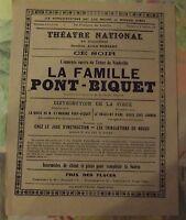 Affiche Publicitaire Propagande Théâtre National La Famille Pont-Briquet 1910