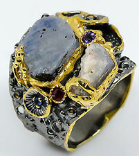 New rough art design Blue Sapphire 925 Sterling Silver Ring Size 8.75