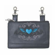 Genuine Leather Belt Bag - Hip Purse - Blue Tribal Heart Biker / Motorcycle