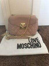 Love Moschino Heart Crossbody Lavender Pink Quilted Leather Flap Magnet Bag