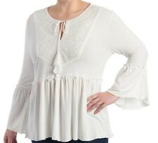 Cha cha vente plus size women's 2x peasant bell sleeve blouse. Ivory. NWT