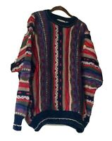 Vintage Cotton Trader Sweater Mens Size XL 90sTextured Coogi Style Biggie Cosby