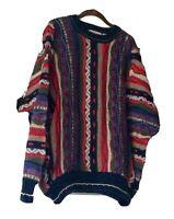 Vintage Cotton Trader Sweater Mens Size XL 90sTextured Coogi Style Biggie Cosby