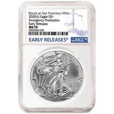2020 (s) Emergency Production 1oz Silver Eagle NGC MS70 ER Blue Label