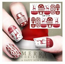2017 Christmas Hohoho Reindeer Nail Art Sticker Decal Manicure Water Transfer