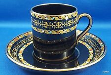 Antique Gibson Sons Italian Border Demitasse Cup Saucer Enameled Dots on Black