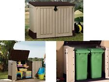 Outdoor Plastic 4x2.5 Ft Storage Shed Horizontal Garden Garage Tool Utility Box