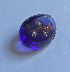 1 Intaglio Glass Stone Purple Seed Pearl w/ Gold enamel  Flowers Czech