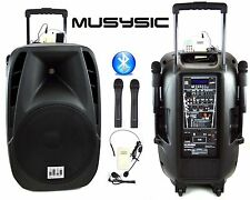"1600w Professional 15"" Speaker PA System 2 Wireless Mics Bluetooth Rechargeable"