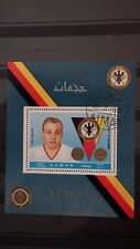 1x Bloc Sheet AJMAN Football Uwe Seeler Perforated Cachet MNH**