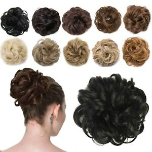 Scrunchie Hair Real Human Natural Curly Messy Bun Hairpiece Updo Hair Extension