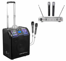 Vocopro Lightshow Rechargeable Bluetooth Karaoke Machine System+2) Wireless Mics