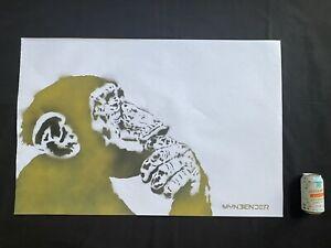 Thinker Monkey - Original Work Signed on paper - Brainwash- Banksy-MynBender