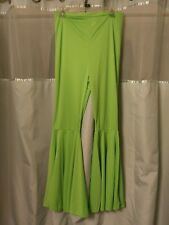 Smiffeys Sz S-M Neon Green Bell Bottoms Elastic Back Waist