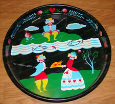Country Kitchen Amish Style (Hand-Painted) Cake Tin (13 1/4in.) Folk Art Fishing