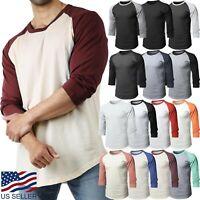 Mens Baseball RAGLAN T Shirts 3/4 Sleeve Tee Plain Team Sport Jersey Solid Casua