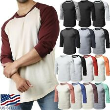 Mens Baseball RAGLAN T Shirts 3/4 Sleeve Tee Plain Team Sport Jersey Solid Casua