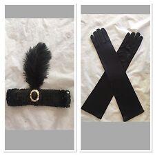 1920s Charleston Flapper Fancy Set Black Sequin Headband And Satin Gloves