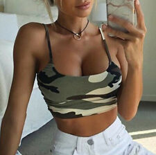 Women's Camouflage Sleeveless Tank Top Bustier Bra Strappy Backless Vest Blouse