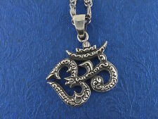 Sterling Silver Om Pendant Buddhism Tibetan Free Shipping, On Chain