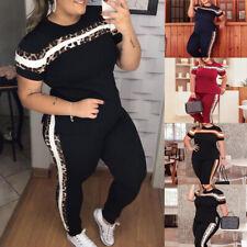 Übergröße Damen Trainingsanzug Hausanzug Fitnessanzug Sport Jogginganzug T-Shirt