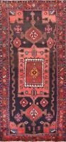 Navy Blue Oriental Traditional Geometric Runner Rug Hand-knotted Wool 4x10 ft