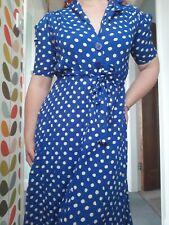 Costurera de Bloomsbury Azul Blanco De Lunares Camisa Vestido 10 Vintage 1940s 1950s