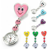 Smile Heart Clip-on Nurse Doctor Brooch Pendant Fob Pocket Quartz Watch HOT New.