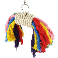 UK_ JF_ HK- Parrot Colorful Cotton Rope Pet Bird Chew Climb Biting Hanging Toy C