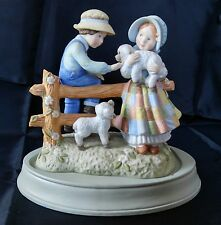 1982 Holly Hobbie Limited Edition Country Morning Porcelain Figurine Lamb Fence