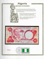 Nigeria 1 Naira 1979 P 19c UNC w/ FDI UN FLAG STAMP Prefix M/28