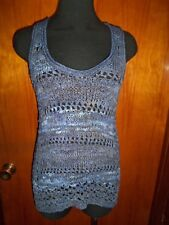 INC International Concepts Open Knit Crochet Sleeveless Tank Sweater Top XS New
