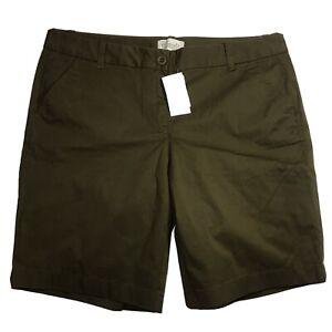 Women's J. Crew Sz 10 Lightweight Bermuda Green Olive Cotton Spandex Shorts