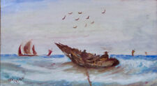 Peintures et émaux du XIXe siècle et avant en paysage marin, bateau