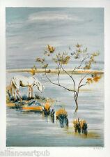 """WHITE HORSE"" s/n print by Paris Silver Medal Award Artist Victor Zarou"