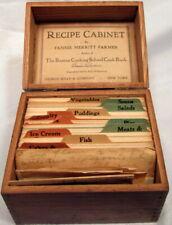 ANTIQUE FANNIE MERRITT FARMER 1913 ORIGINAL RECIPE CABINET DOVETAILED WOODEN BOX