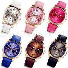 Womens Fashion Leather Band Watches Stainless Steel Analog Quartz Wrist Watch