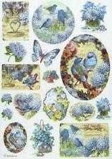 Papel De Arroz Para Decoupage Decopatch Scrapbook Craft Hoja Pájaros y Mariposa