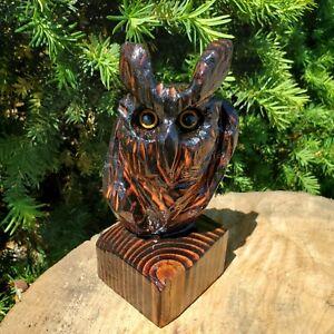 Douglas Fir Wood Chainsaw Carved Owl Folk Art Carving Sculpture OOAK