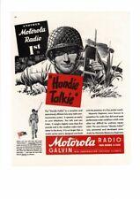 VINTAGE 1944 MOTOROLA RADIO HOME CAR SOLDIER WALKIE TALKIE HANDIE AD PRINT
