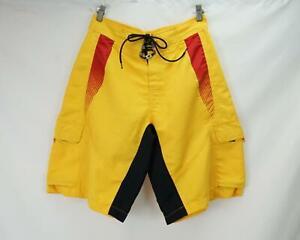Fox Cargo Pocket Swim Trunks Board Shorts Yellow Men's Waist 32