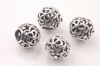 10Pcs Tibetan Silver Charms Spacer Big Hole Beads Jewelry Findings Making 10mm
